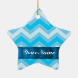 Pale blue chevrons christmas tree ornament