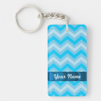 Pale blue chevrons Double-Sided rectangular acrylic keychain