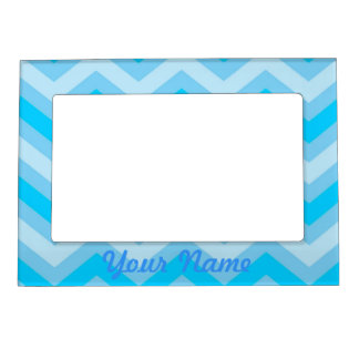 Pale blue chevrons magnetic picture frame
