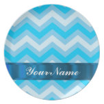 Pale blue chevrons party plate