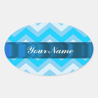 Pale blue chevrons oval sticker
