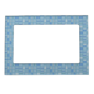 Pale Blue City Blocks Geometric Pattern Magnetic Picture Frame