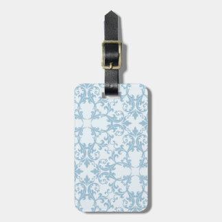 Pale Blue Damask Bag Tag