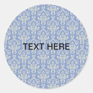 Pale Blue damask Classic Round Sticker