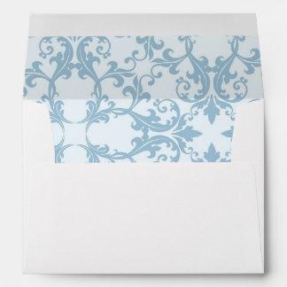 Pale Blue Damask Envelope