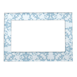 Pale Blue Damask Magnetic Picture Frame