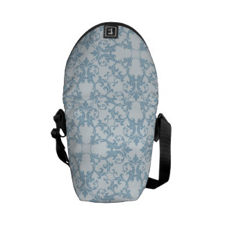 Pale Blue Damask Messenger Bag