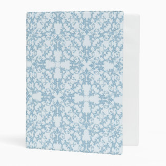 Pale Blue Damask Mini Binder