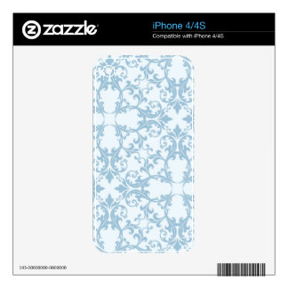 Pale Blue Damask Skins For The iPhone 4