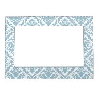 pale blue,damask,trendy,floral,vintage,modern,chic picture frame magnets
