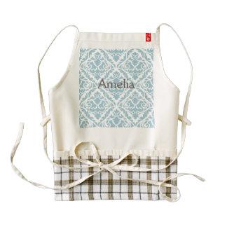 pale blue,damask,trendy,floral,vintage,modern,chic zazzle HEART apron