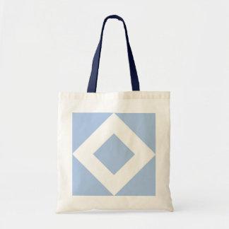 Pale Blue Diamond, Bold White Border Budget Tote Bag