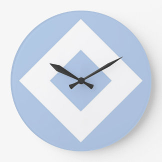 Pale Blue Diamond, Bold White Border Large Clock
