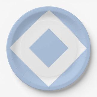 Pale Blue Diamond, Bold White Border Paper Plate