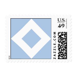 Pale Blue Diamond, Bold White Border Postage