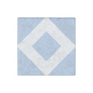 Pale Blue Diamond, Bold White Border Stone Magnet