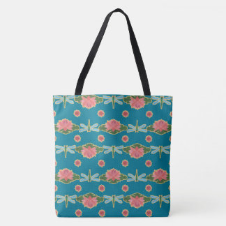 Pale Blue Dragonflies, Pink Water Lilies on Blue Tote Bag