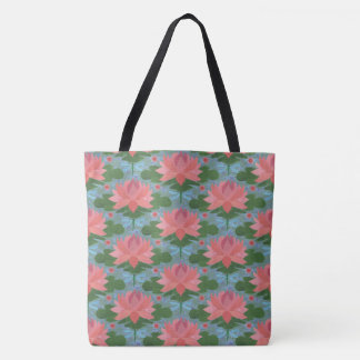 Pale Blue Dragonflies, Pink Water Lilies, on Blue Tote Bag