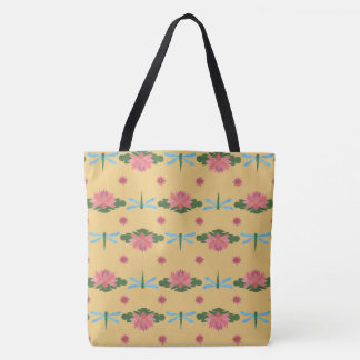 Pale Blue Dragonflies, Pink Water Lilies on Yellow Tote Bag