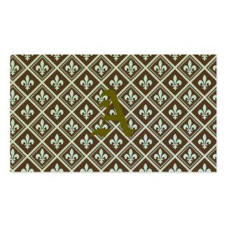 pale blue,fleur de lis,royal,tartan,brown,pattern, Double-Sided standard business cards (Pack of 100)