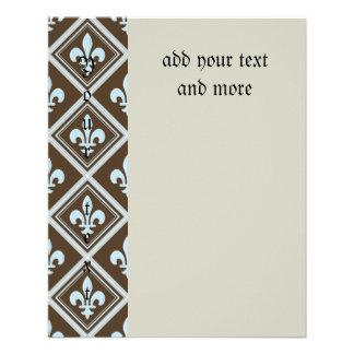 pale blue,fleur de lis,royal,tartan,brown,pattern, flyer