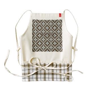 pale blue,fleur de lis,royal,tartan,brown,pattern, zazzle HEART apron