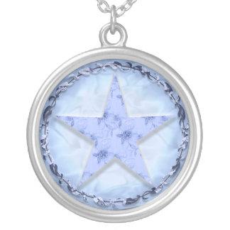 'Pale Blue Floral Pentacle' Necklace