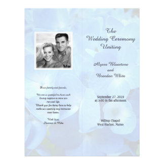 Pale Blue Floral Tall Folded Wedding Program