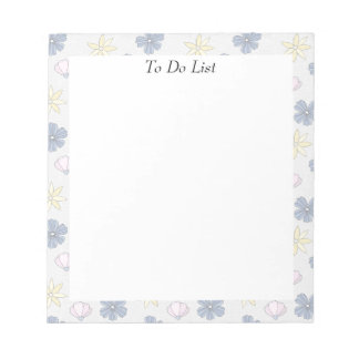 Pale Blue Flowers Notepad