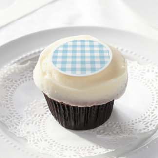 Pale Blue Gingham Edible Frosting Rounds