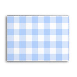 "Pale blue gingham pattern for 5x7"" envelope"