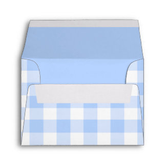 Pale blue gingham pattern for note cards envelope