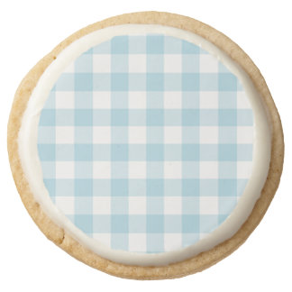 Pale Blue Gingham Round Shortbread Cookie