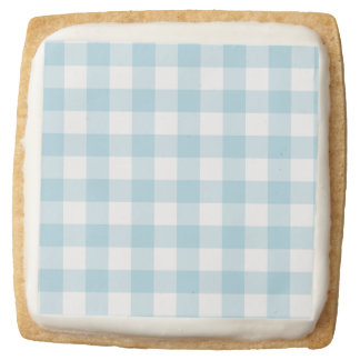 Pale Blue Gingham Square Shortbread Cookie