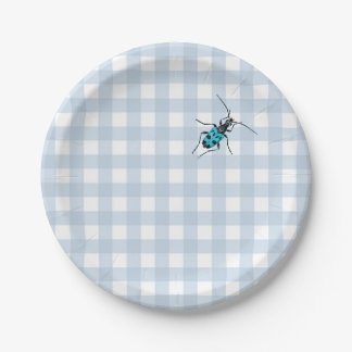 Pale Blue Gingham with Turquoise Beetle Paper Plate