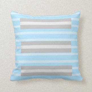 Pale Blue Gray Striped Throw Pillow