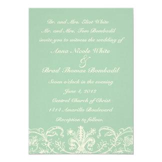 Pale Blue Green Cream Lace Wedding Invitation