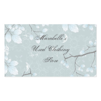 Pale Blue Green Leaves Gray Branches Business Card