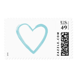 Pale Blue Heart Postage Stamp