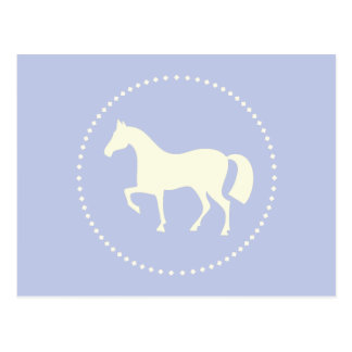 Pale blue horse silhouette equestrian postcards