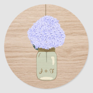Pale Blue Hydrangea & Mason Jar Bridal Shower Classic Round Sticker