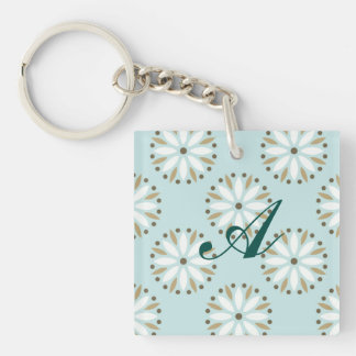 pale blue kawai floral pattern girly chic elegant Double-Sided square acrylic keychain