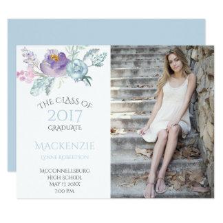 Pale Blue Lavender Floral Photo Graduation Card