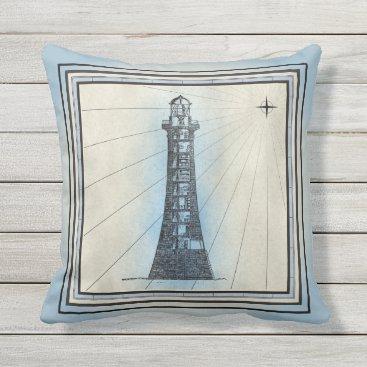 Beach Themed Pale Blue Lighthouse Design Outdoor Pillow