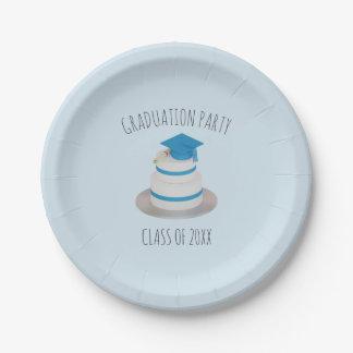 Pale Blue Low Poly Graduation Cake Paper Plates