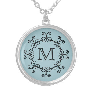Pale blue monogrammed silver plated necklace