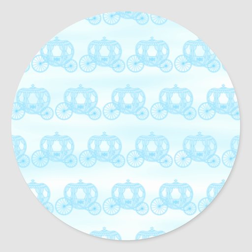 Pale Blue Pattern of Princess Carriages Classic Round Sticker