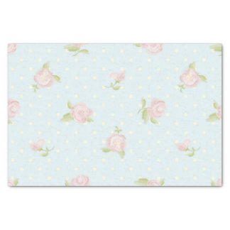 "pale blue polka dot cream vintage floral pink 10"" x 15"" tissue paper"