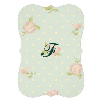 pale blue polka dot cream vintage floral pink cards