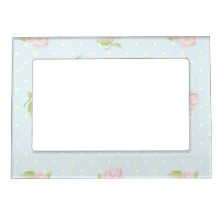 pale blue polka dot cream vintage floral pink picture frame magnets
